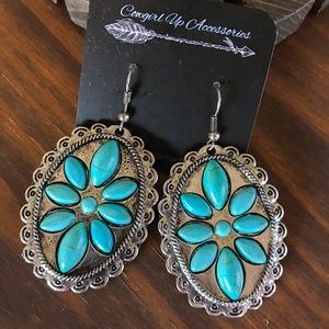 Jewelry - Silver & Turquoise Burst Earrings
